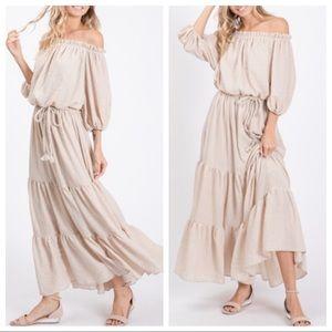 Texture cotton woven elastic shoulder tiered dress